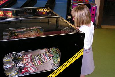 Sydney enjoying the arcade in Ventura Harbor.
