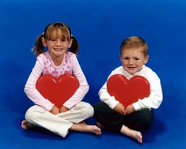 Valentine's Day picture of Sydney (6-yrs) and Christopher (4-yrs).