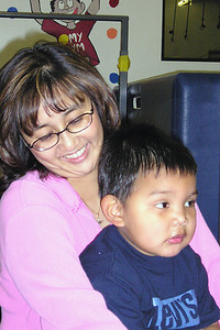 Aunt Vivian with Isaac at his 3-yr birthday party at My Gym.