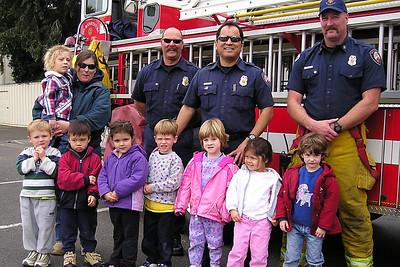 Ms. Karen's class with the Ventura Fire Dept. at First Baptist Day School.