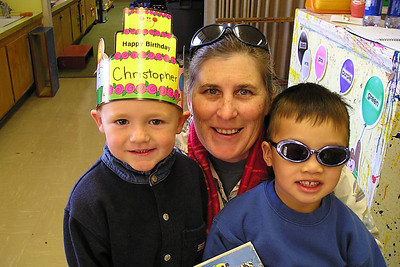 Christopher and Eli with their teacher, Ms. Karen, at First Baptist Day School.
