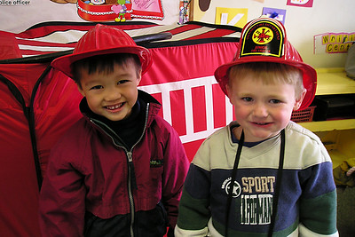 Eli and Christopher after the Ventura Fire Dept. visit to First Baptist Day School.