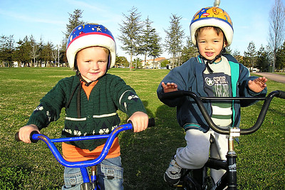 Christopher and Eli in the park across the street from our house.