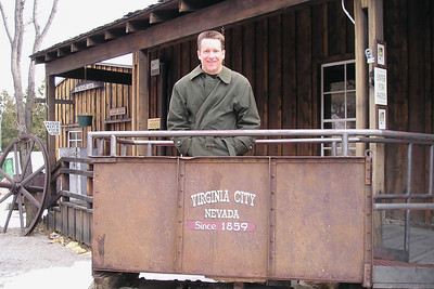 Pat in an ore cart at The Way it Was Museum.