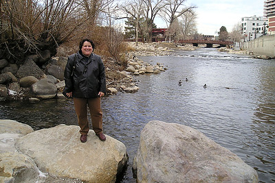"""KK alongside the Truckee River, which runs through Reno. She was supposed to be standing on the rock in the river, but something about """"short legs"""" and """"cold water"""" kept her from giving it a try."""
