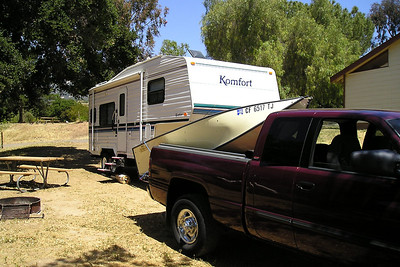 The weather turned hot, so Dad and the kids headed back to Lake Casitas for a quick weekend getaway. We even ended up with the same campsite!