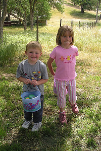 Christopher and Sydney Kane with their Easter eggs at the Roth household in Lockwood.