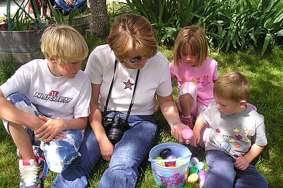 Nathan and Besty Roth with Sydney and Christopher Kane checking out the Easter eggs found at the Roth household in Lockwood.