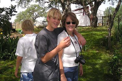 Nathan (back to camera), Grady and Betsy Roth.
