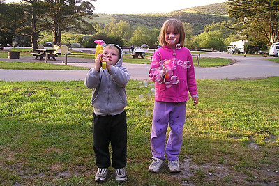 Christopher and Sydney Kane at our campsite in Montaña de Oro State Park enjoying the bubble blowers that the Easter Bunny left at Aunt Betsy's in Lockwood.