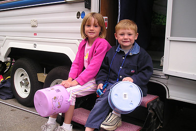 Sydney and Christopher Kane ready to go Easter egg hunting during our camping trip to Montaña de Oro State Park.