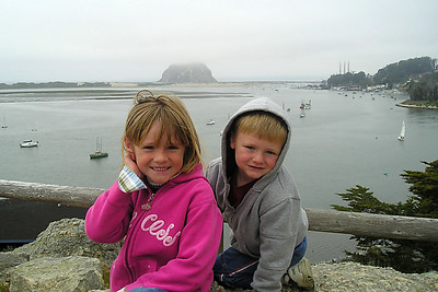 Sydney and Christopher Kane on the hillside above the Morro Bay Museum of Natural History overlooking the bay and Morro Rock.