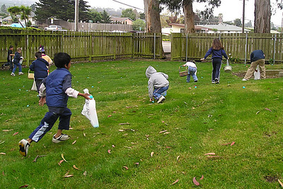 The Los Osos Easter Egg hunt is underway. Christopher Kane is in the middle of the picture in the grey sweatshirt with his back to the camera. There were a lot of kids, so the hunt was pretty much over within a minute.