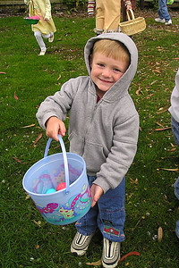Christopher Kane showing off his eggs at Los Osos Easter Egg hunt.