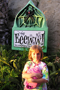 Sydney Kane outside the Eeeww! exhibit during the First Baptist Day School Kindergarten class' overnight field trip to the Santa Barbara Zoo. The zoo is now closed and we're getting a behind the scenes look at an exhibit where they have insects and reptiles.