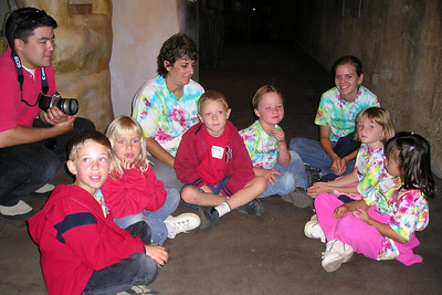 Ms. Liz's First Baptist Day School Kindergarten class during their overnight field trip to the Santa Barbara Zoo. The zoo is now closed and we're getting a behind the scenes look at an exhibit where they have insects and reptiles.