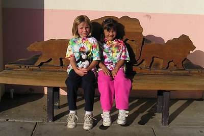 Sydney Kane and Sierra Moore outside the Santa Barbara Zoo. The First Baptist Day School Kindergarten class had an overnight field trip to the zoo.