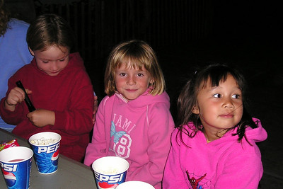 Snack time for Spencer, Sydney and Sierra during the First Baptist Day School Kindergarten class' overnight field trip to the Santa Barbara Zoo.