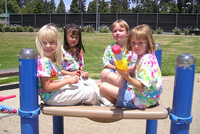 Michaela, Sierra, Spencer and Sydney hanging out during their kindergarten graduation party.