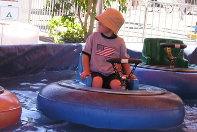 Christopher Kane is ready to go again (and again and again and...) on the bumper boat ride at the Ventura County Fair.