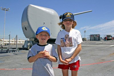 Christopher and Sydney on a tour of the USS Stethem DDG-63 during Seabee Days.