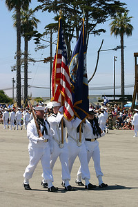 Parading the colors during Seabee Days.