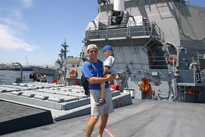 Pat and Christopher on a tour of the USS Stethem DDG-63 during Seabee Days.