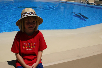 Sydney enjoying the Dolphin Habitat at the Mirage Casino.