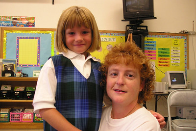 Kathy dropping off Sydney Kane for her first day in 1st grade at St. John's Lutheran School.