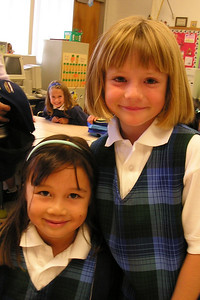 Sydney Kane and Sierra during their first day in 1st grade at St. John's Lutheran School.