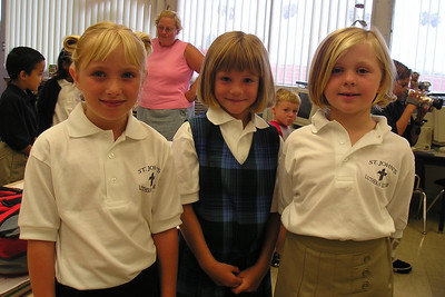 Gwynn, Sydney Kane and Samantha during the first day in 1st grade at St. John's Lutheran School.