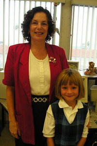 Sydney Kane with her 1st grade teacher, Ms. Beyer, at St. John's Lutheran School.