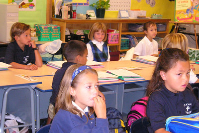 Sydney Kane and her 1st grade class at St. John's Lutheran School on the first day of school.