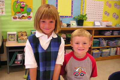 Sydney and Christopher Kane at Sydney's new school (1st grade at St. John's Lutheran).
