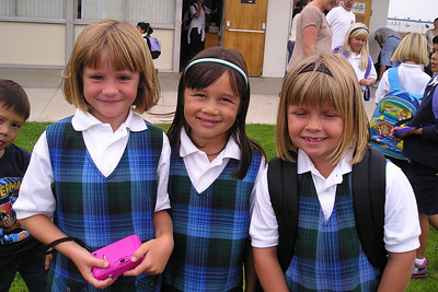 Sydney Kane, Sierra and Bailey after the first day in 1st grade at St. John's Lutheran School.