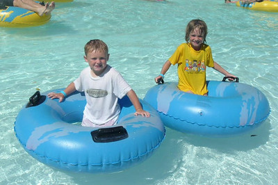 Christopher and Sydney Kane enjoyed the lazy river at the Lake Casitas Water Adventure.