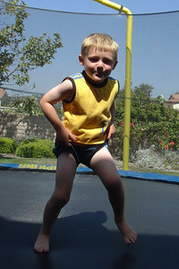 Sydney's picture of Christopher Kane bouncing on the trampoline.