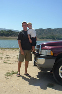 Pat and Christopher Kane. Pat took Sydney and Christopher to the lake to cool off as the weather had been hot lately.