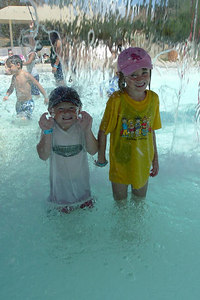 Christopher and Sydney Kane cooling off at the Lake Casitas Water Adventure.