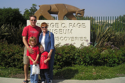 Pat, Kathy, Sydney and Christopher Kane outside of La Brea Tar Pits. We spent the day visiting Pat's sister, Kathy, who was in town for business.