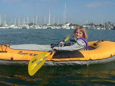 Sydney Kane's turn to paddle her own kayak. Though she does a good job of paddling, Pat still has her tied off to his kayak just in case.