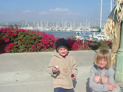 Christopher and Sydney Kane enjoying the day out at Ventura Harbor. We kayaked from the beach around into the harbor, where we had lunch, played at the arcade and walked the waterfront before paddling back out.