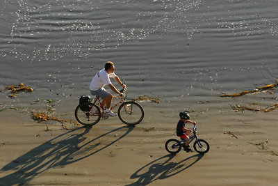 Pat and Christopher Kane going for a bike ride on the beach while Kathy stayed on the bluff at El Capitan State Beach.