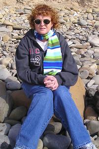 Kathy Kane watching everyone play at El Capitan State Beach.