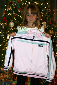 Sydney showing off her track suit, which was a gift from Grandma.