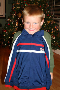 Christopher modeling his track suit, which was a gift from Pappa.
