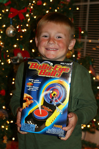 Christopher showing off Bulls-Eye Ball 2, which was a gift from the Moore family.