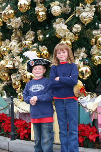 Christopher and Sydney in front of the huge Christmas tree just after we entered Disneyland.