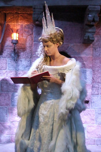 The White Witch, the Queen of Narnia, placed a spell on the land so that it is winter and never Christmas. She wields a wand that turns creatures and people to stone. This character actor was extremely good at her job--her stare and sneer were scary.