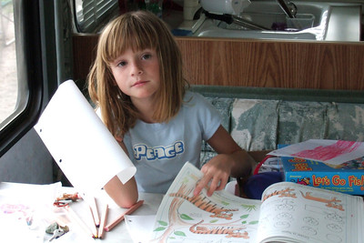 Sydney loves to draw and color.